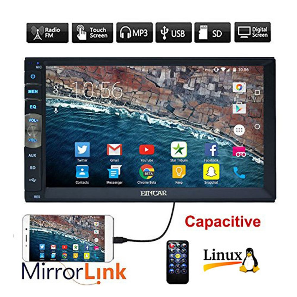 EinCar 7 inch Double Din Car Stereo MP5 Player with Capacitive Touch Screen Video Audio 1080P Multimedia Movie FM Radio Receiver in Dash Bluetooth Hands Free SD/USB/Aux/Mirror Link for Android Phones