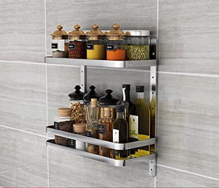 Porta Spezie Mensola in Acciaio Inox in Acciaio Inox Forniture da Cucina  Mensole Doppio Strato Supporto da Parete Monocomando per Cucina 41 * 16 *  ...