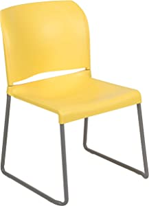 Flash Furniture HERCULES Series 880 lb. Capacity Yellow Full Back Contoured Stack Chair with Gray Powder Coated Sled Base