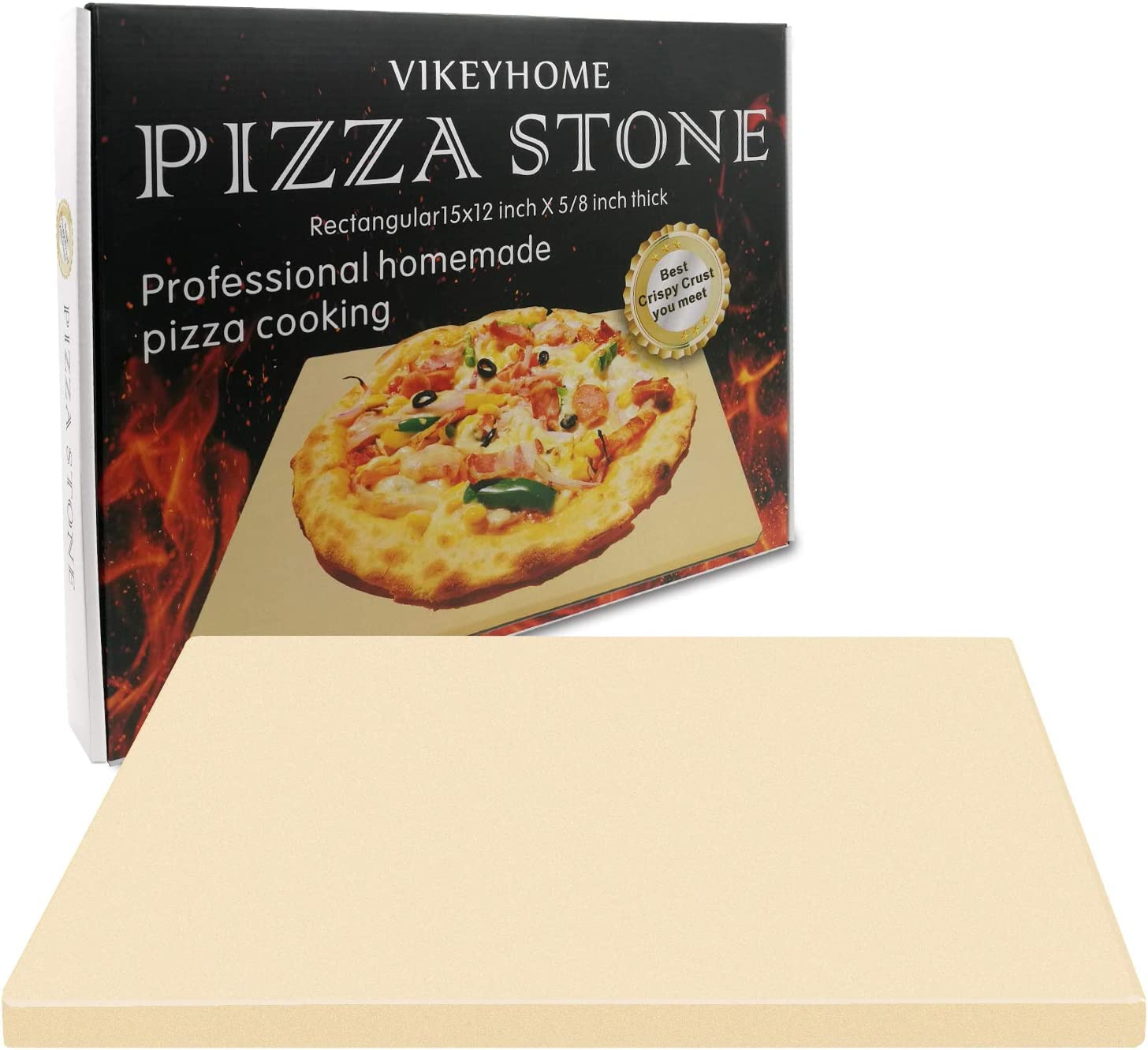 VIKEYHOME Pizza Stone, Heavy Duty Cordierite Pizza Grilling Stone,Baking Stone, Pizza Pan, Perfect for Oven, BBQ and Grill, Thermal Shock Resistant, Durable and Safe, Rectangular, 15x12 Inch, 7Lbs