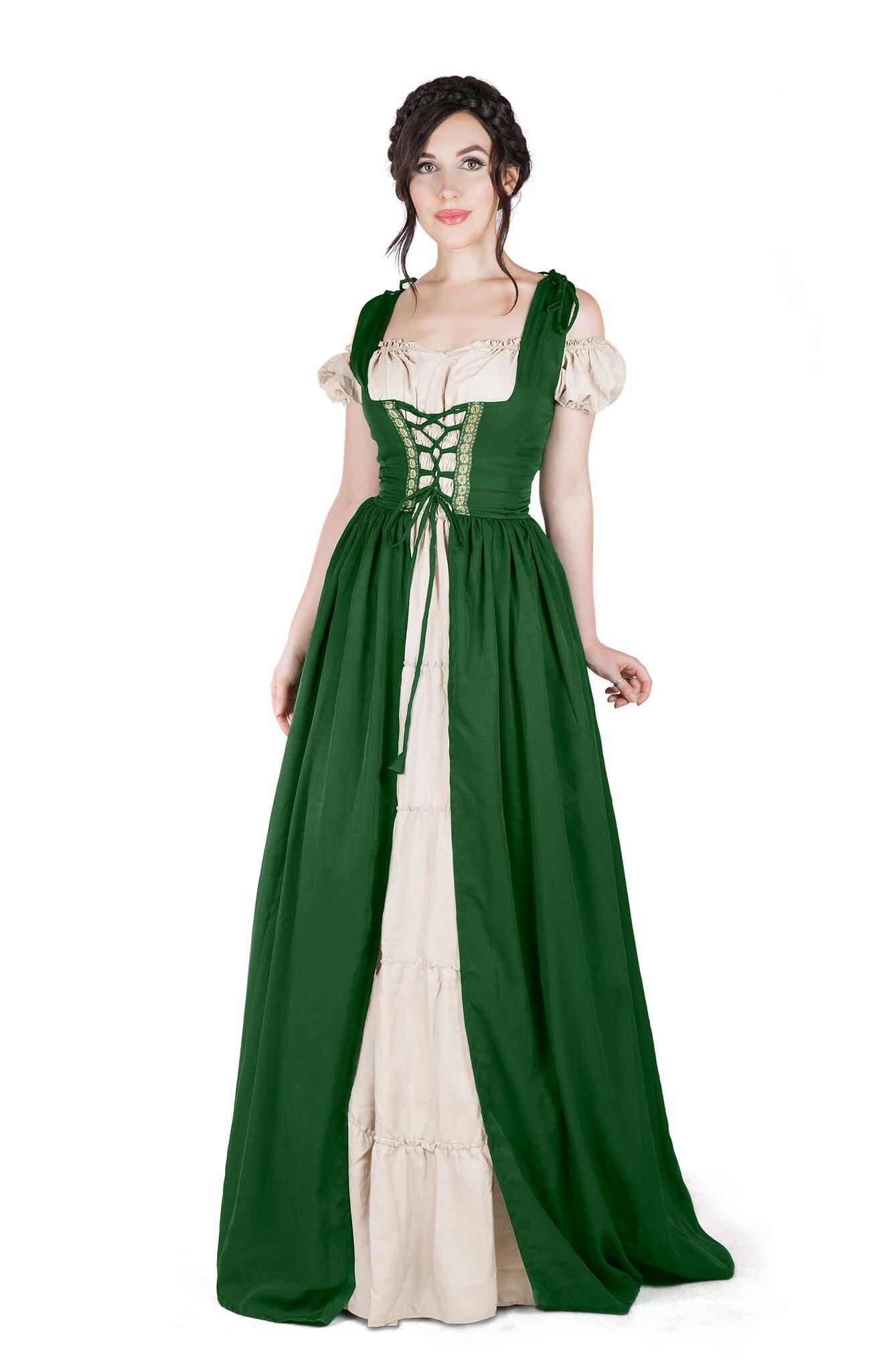 I Do Declare Renaissance Medieval Irish Costume Over Dress & Boho Chemise Set (S/M, Hunter Green)