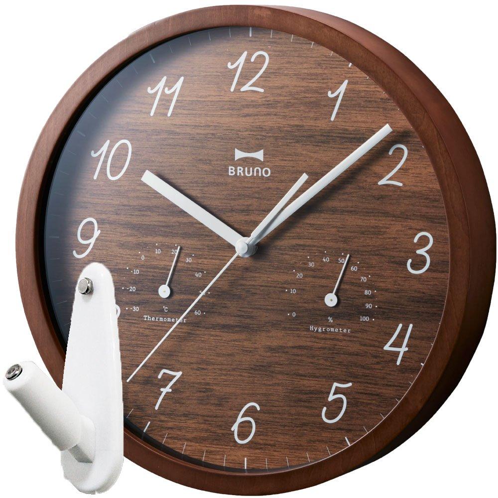 BRUNO ウッド温湿ウォールクロック BCW022 + 壁の穴が目立ちにくい時計用壁掛けフック 2点セット 掛け時計 掛時計 壁掛け時計 壁掛時計 フック おしゃれ ブルーノ イデアインターナショナル (ダークウッド) B0764SDGF3 ダークウッド ダークウッド