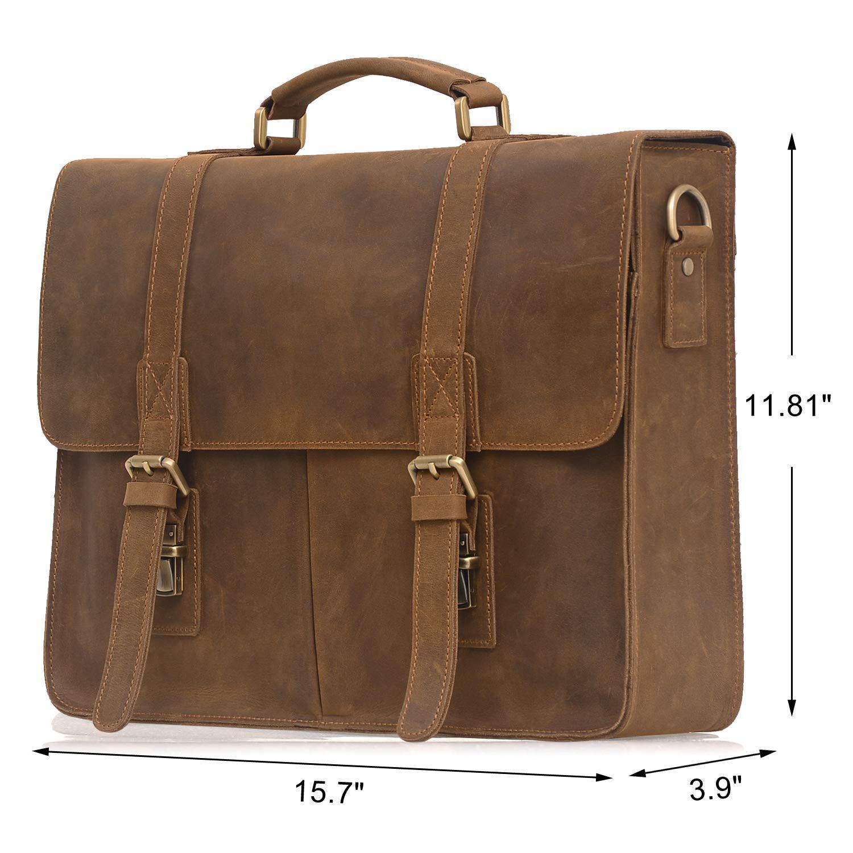 ecfa30435282 Jack Chris Men s Leather Briefcase Messenger Bag Business Laptop Bag ...