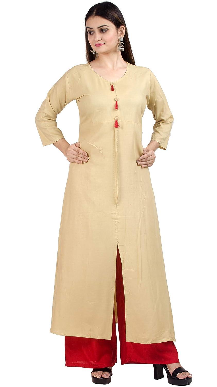 Beige8 Chandrakala Women's 100% Cotton Indian Ethnic Tunic Top Kurti Kurta(K101)