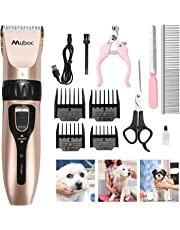 MuBoC Dog Clippers, Professional Rechargeable Cordless Low Noise Pet Grooming Clippers Hair Trimmer Tool Kit with 4 Comb Guides scissors for Dogs Cats Any Animals