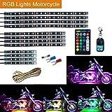 Leeleberd 12PCS Motorcycle RGB LED Strip Lights kit, Multi-Color Accent Glow Neon LED Atmosphere Lamp Strips Kit With Dual IR/RF Remote Controller For Harley Davidson Honda Suzuki Ducati Polaris KTM