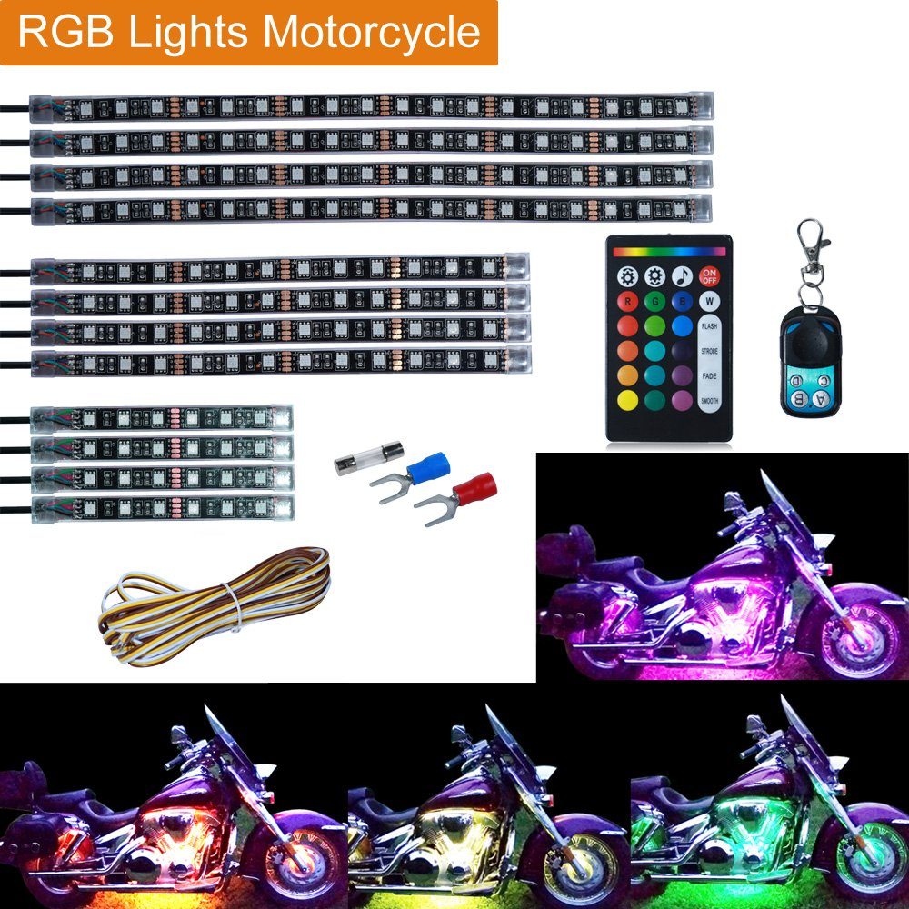 Leeleberd 12PCS Motorcycle RGB LED Strip Lights kit, Multi-Color Accent Glow Neon LED Atmosphere Lamp Strips Kit With Dual IR/RF Remote Controller For Harley Davidson Honda Suzuki Ducati Polaris KTM