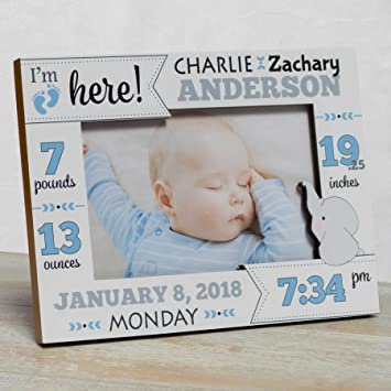 Amazon.com: Personalized Baby Picture Frame, Baby Boy Picture Frame ...