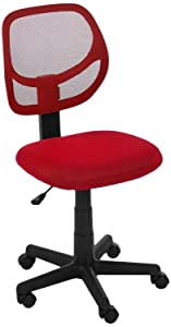 AmazonBasics Low-Back Computer Task/Desk Chair with Swivel Casters - Red