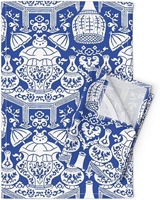 Blue Chinoiserie Victorian Antique Linen Cotton Tea Towels by Roostery Set of 2