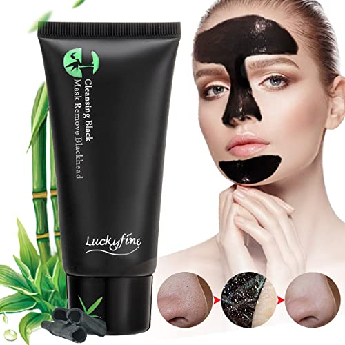 Blackhead Mask ,LuckyFine Bamboo Nose Blackhead Remover/Cleansing Peel Off Removal Mask/Black Mud Face Mask, Acne Facial Cleaning ,Absorbing Pores Stubborn Dirt,Oil Contral
