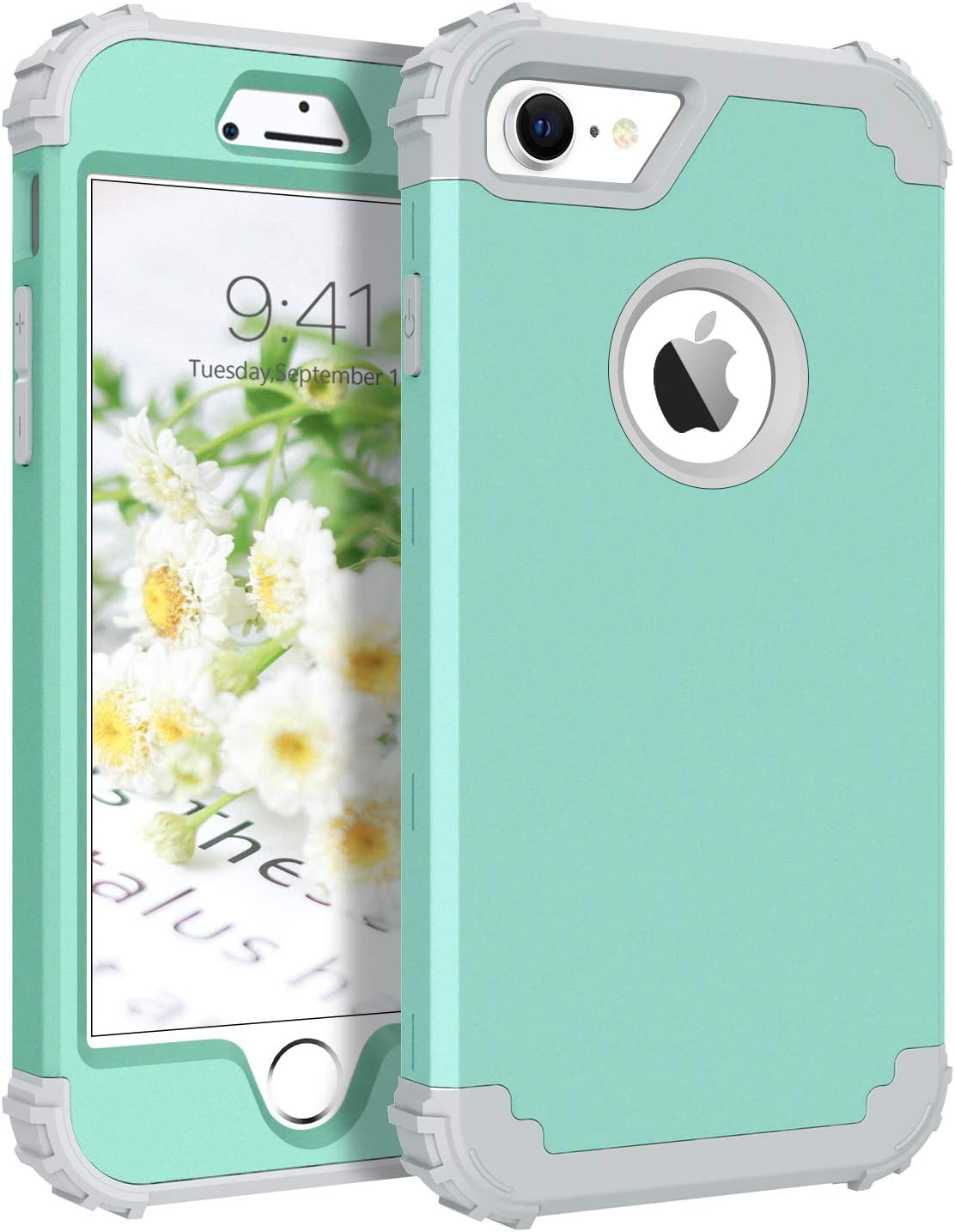 BENTOBEN iPhone 7 Case, iPhone 8 Case, 3 in 1 Hybrid Hard PC Soft Rubber Bumper Heavy Duty Shockproof Full Body Rugged Protective Phone Case Cover for iPhone 7 / iPhone 8 4.7 Inch, Mystic Green