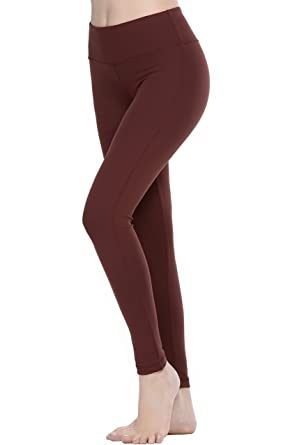 7349bf999ab4fd Oalka Women Power Flex Yoga Pants Workout Running Leggings Brown XS