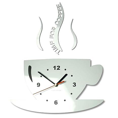 FLEXISTYLE Orologio da Parete da Cucina Tazza LA TAZZINA Bianca Silenzioso  Moderno per Bar 3 d Decorativo