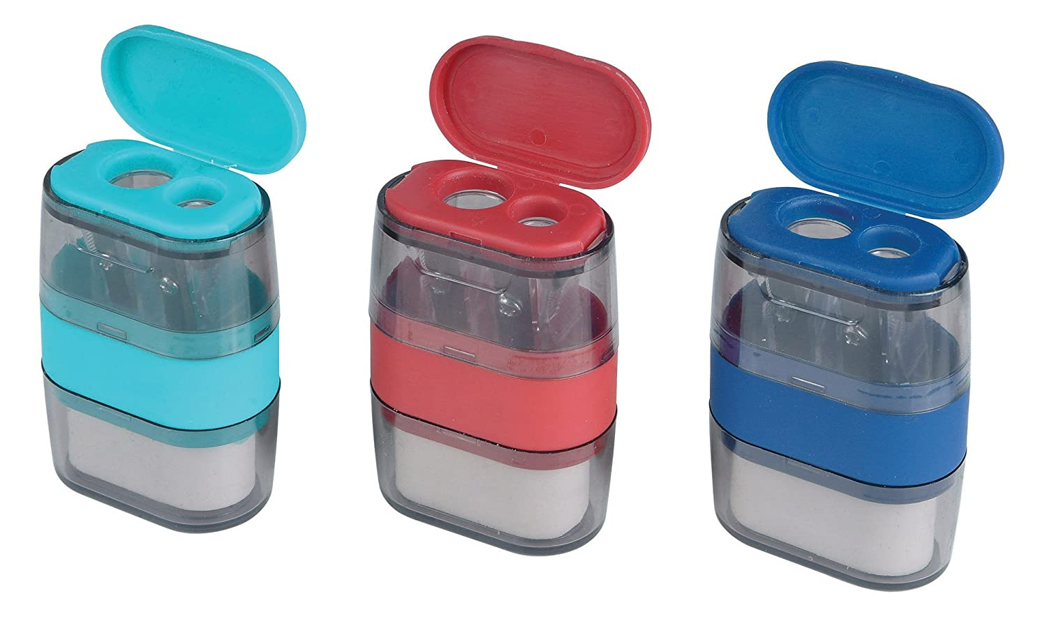 Helix Balance Duo Two Hole Pencil Sharpener and Eraser (Assorted Colours) 048710