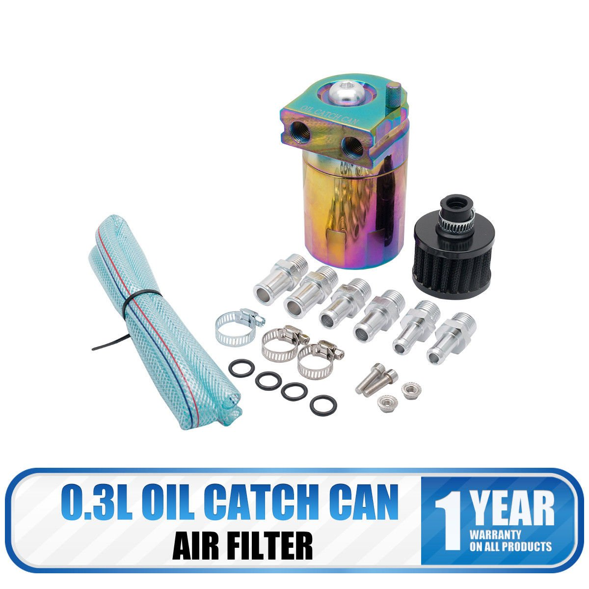 Car Oil Catch Can Reservoir Tank with Air Breather Filter Baffled Universal 0.3L Blue