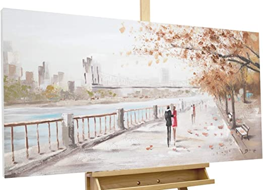Personas paseando por Cuadro al óleo pintado a mano sobre lienzo con marco