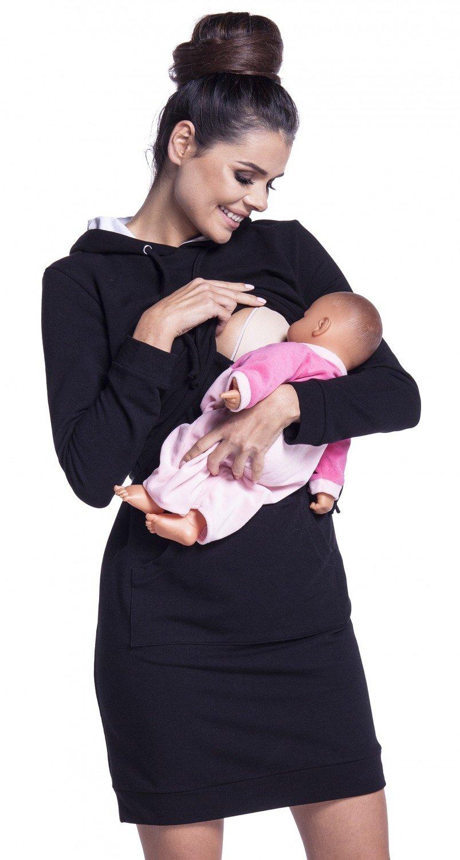 Zeta Ville - Vestito felpa cappuccio strati allattamento prémaman - donna - 208c nursing_dress_208
