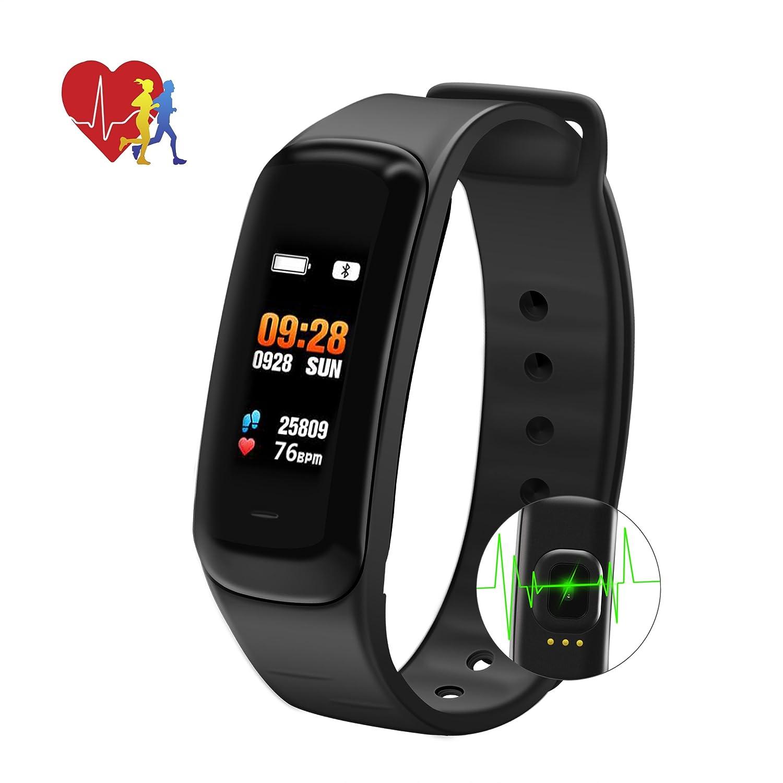 Fitness Tracker Reloj inteligente - SMBOX C1s (2018 3D UI Design) Pantalla de color Rastreador de actividad impermeable con monitor de frecuencia cardíaca ...