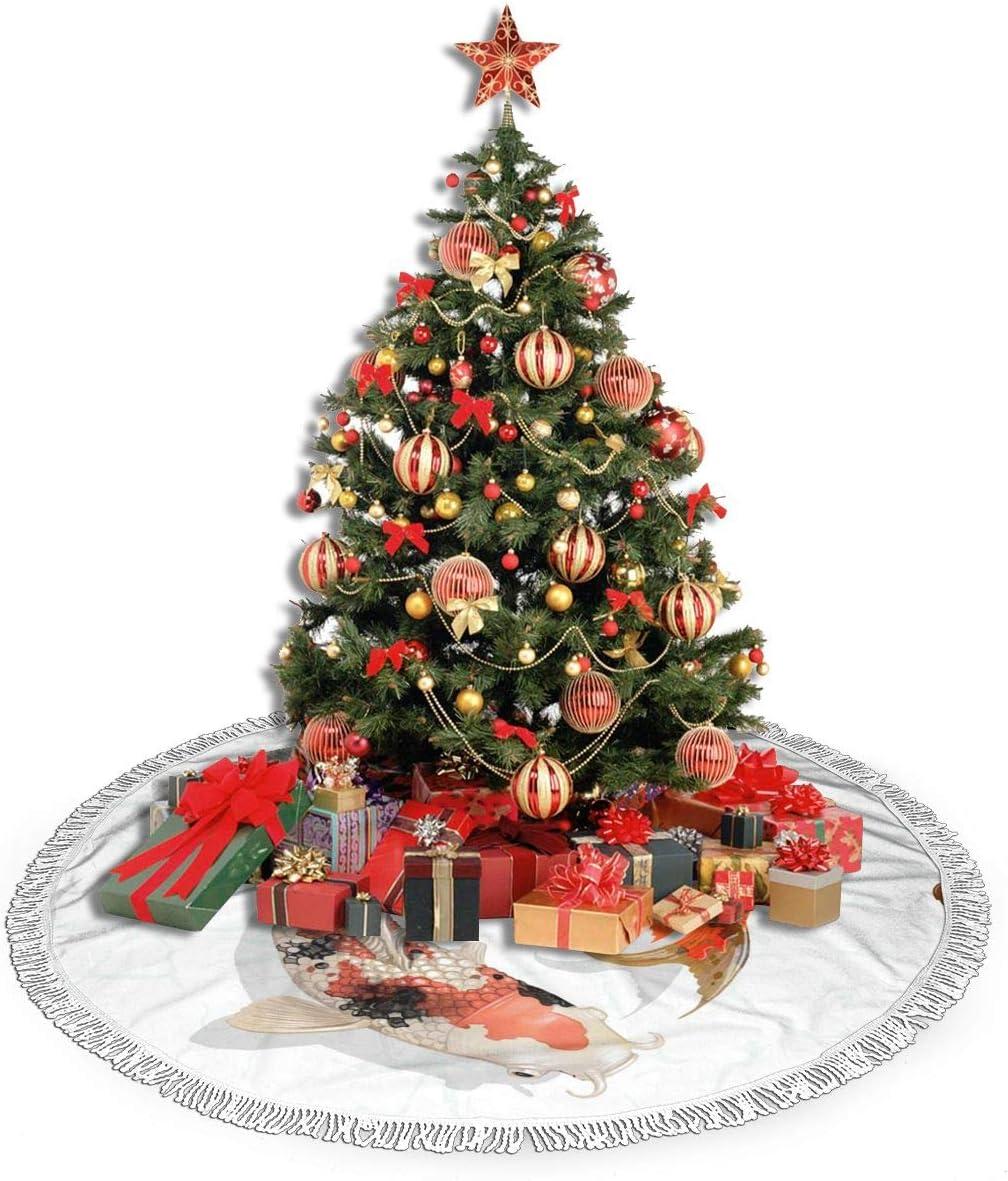 Amazon Com Shanglong 48 Christmas Tree Skirt With Fringed Edge Japanese Koi Fish Blanket Xmas Tree Skirt For Christmas Decoration Home Kitchen