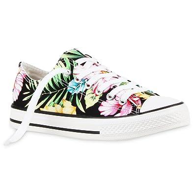 ea38557d1f Stiefelparadies Damen Sneakers Blumen Freizeit Denim Sneaker Low Stoff Turn  Schuhe 118682 Schwarz Weiss Blumen 36