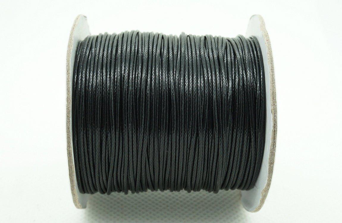 BLACK 1mm Faux Imitation Leather Polyester Braided Cord Macrame Bracelet Thread Artisan String (100yards Spool)