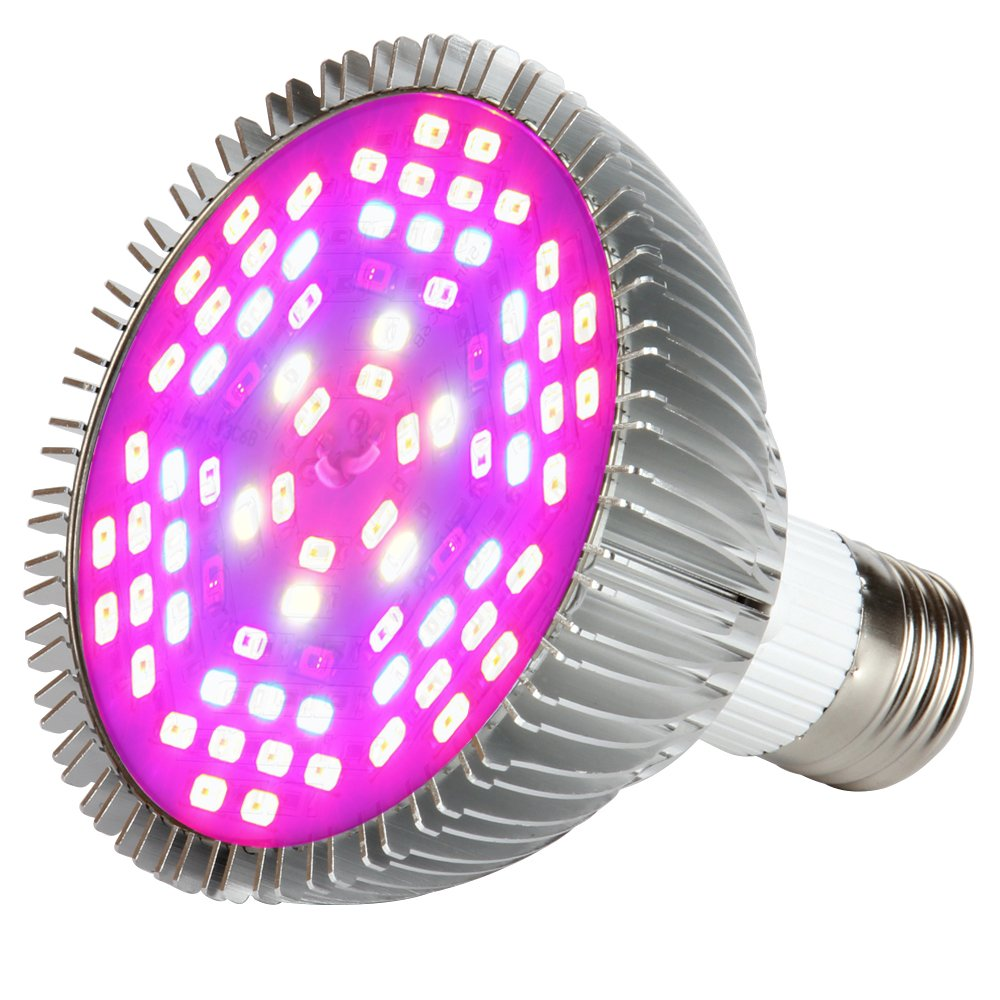 Morsen 50W LED Grow Light Bulb, Grow lamp for indoor plants, Plant Light Bulb for Indoor Garden Greenhouse and Hydroponic Plants Full Spectrum (E27 78leds)