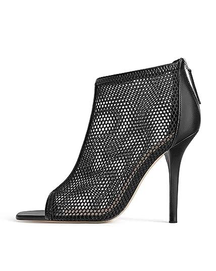 9293eaafabb Zara Women s Wraparound mesh high Heel Sandals 1386 001  Amazon.co ...