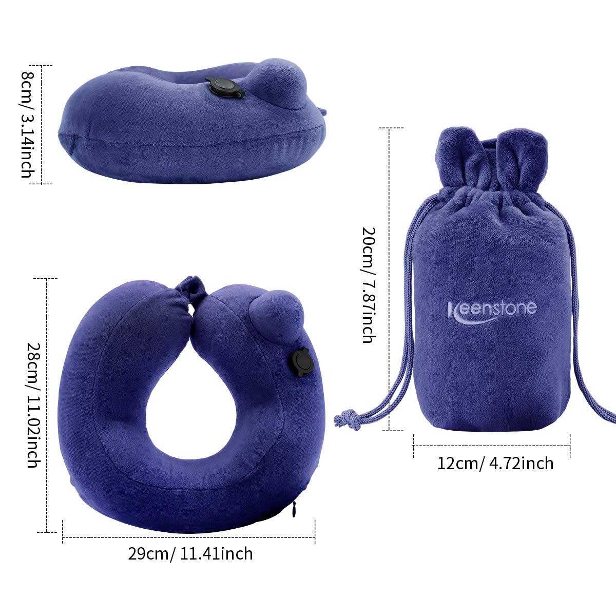Cuscino da viaggio gonfiabile, ideale per cuscino da viaggio, ufficio, auto e casa con borsa per il trasporto. Cuscino per guanciale compatto e leggero Keenstone con design ergonomico a forma di U Vis