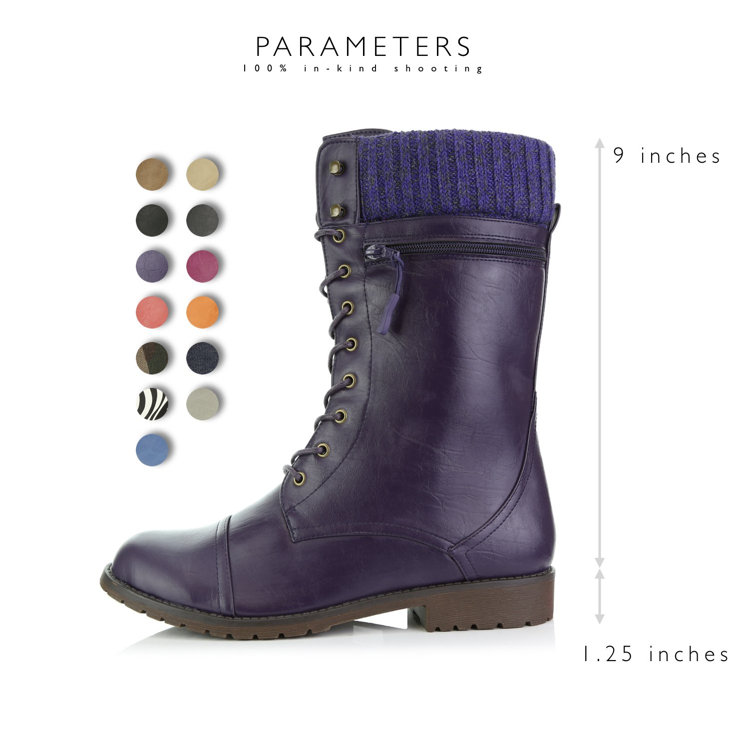 DailyShoes Women's Combat Style up Ankle Bootie Quilted Military Knit Credit Card Knife Money Wallet Pocket Boots B0155N9ZRK 12 B(M) US|Purple Pu