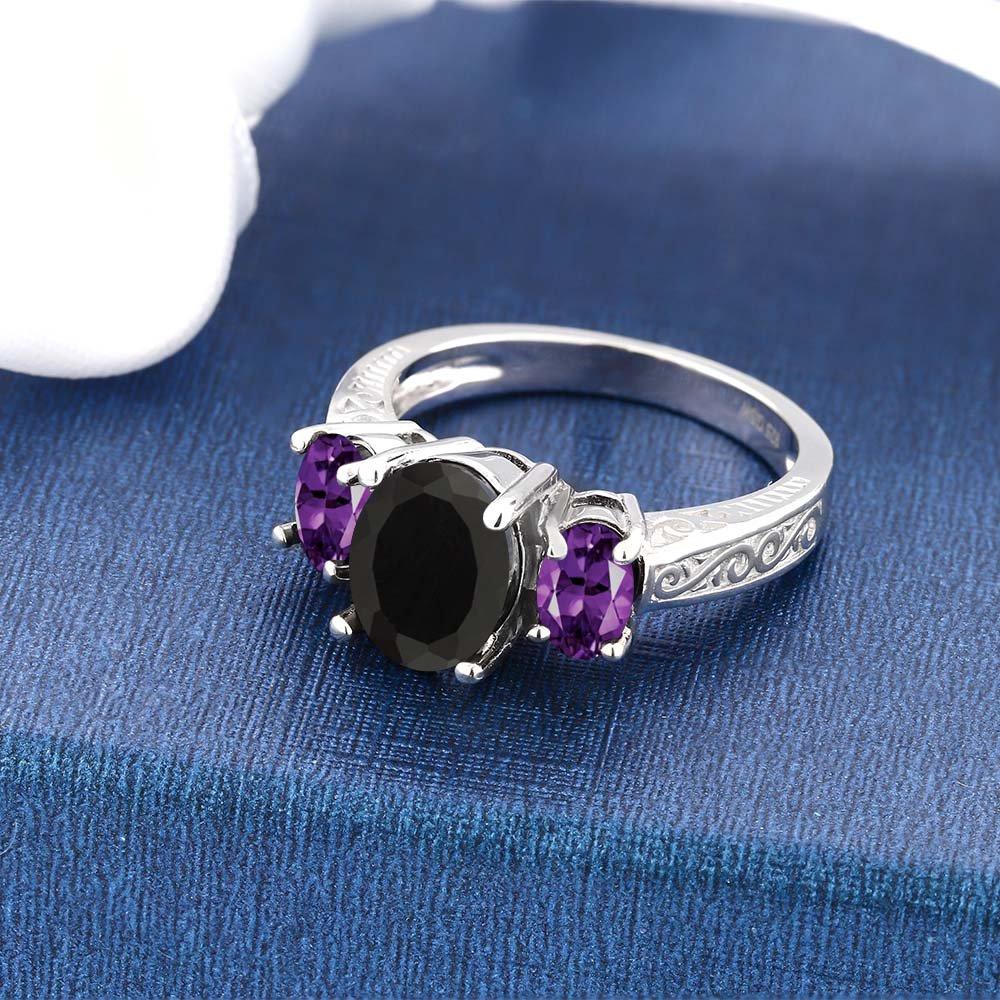 2.53 Ct Oval Black Onyx & Purple Amethyst 925 Sterling Silver 3-Stone Gemstone Women's Ring (Size 5) by Gem Stone King (Image #3)
