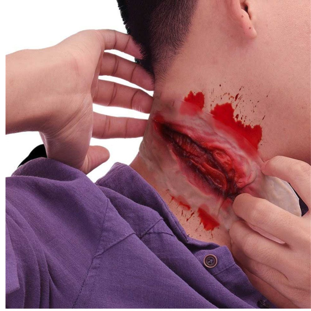 Halloween Cosplay Prop Scarlet Fake Wound Zombie Imitation Large Scar Cut Throat