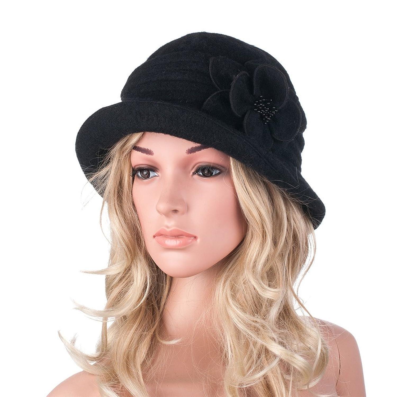 356b504e126f8 Womens Gatsby 1920s Winter Wool Cap Beret Beanie Cloche Bucket Hat A299