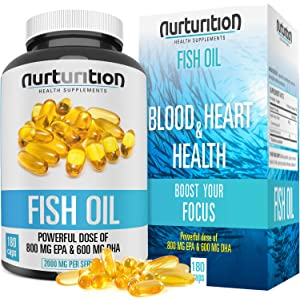 NURTURITION Fish Oil - 2000mg Omega 3 - Triple Purified with 800mg EPA- 600mg DHA