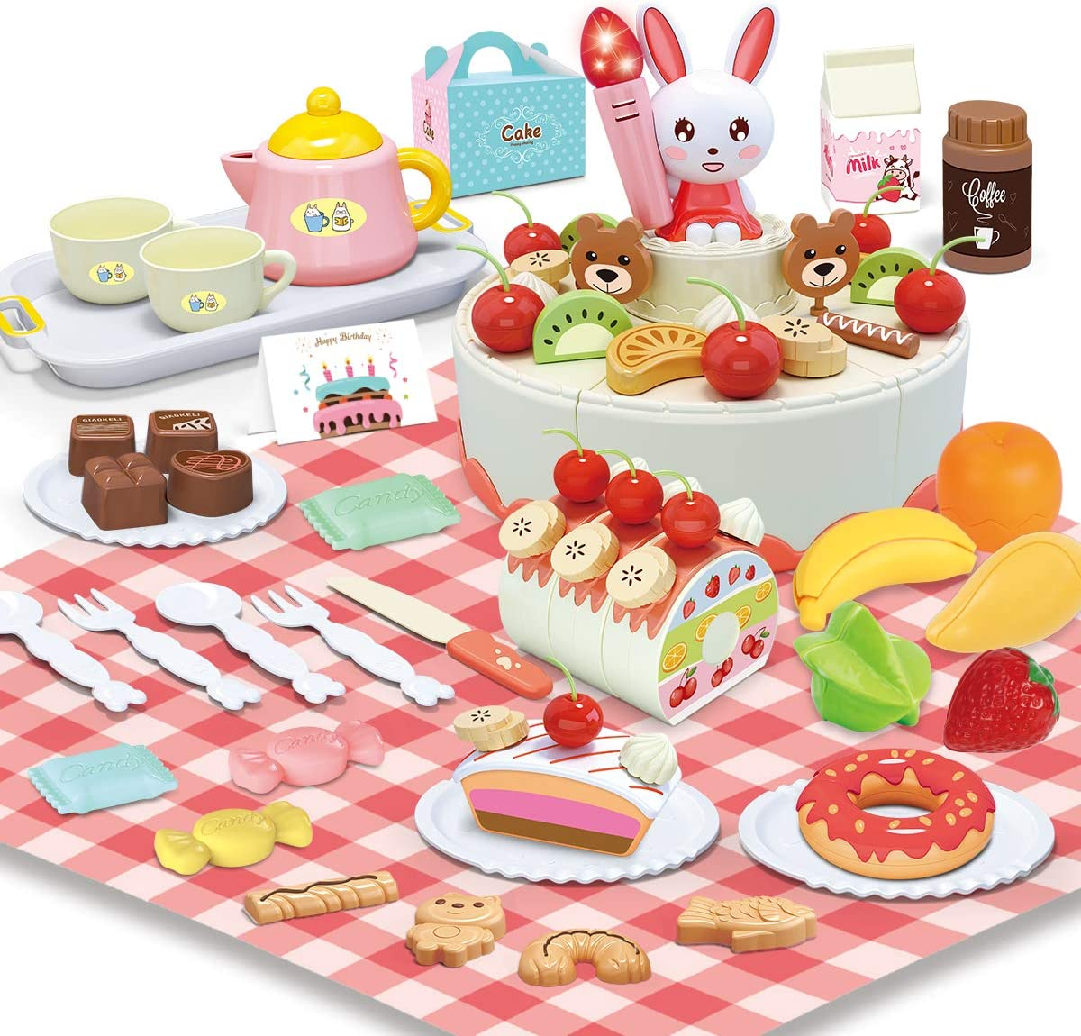 REMOKING DIY Cake Toys, Educational Food Pretend Play Toy with Light and Music, Funny Cutting Toys Set 88 Pcs with Outdoors Table Picnic Cloth, Great Gifts for Kids 3 Years and up