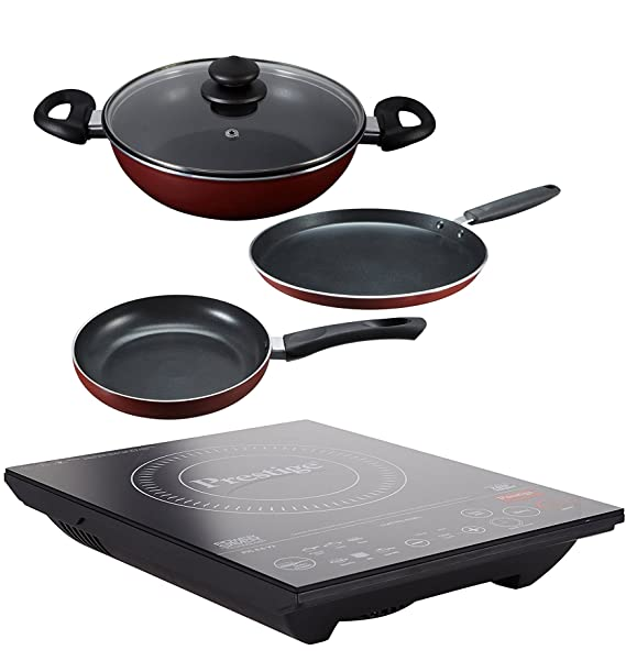 Prestige Induction Cooktop Pic 6.0 V3 With Omega Deluxe Byk Set 3 Pc Set Induction Cooktops at amazon