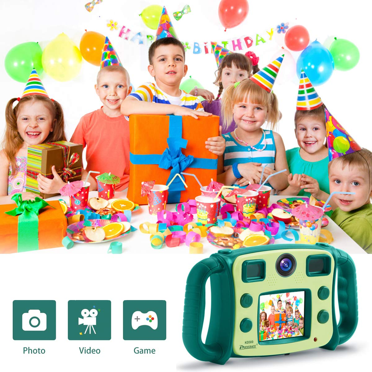 Prograce Kids Camera Dual Selfie Camera 1080P HD Video Recorder Digital Action Camera Camcorder for Boys Girls Gifts 2.0'' LCD Screen with 4X Digital Zoom and Funny Game(Green) by Prograce (Image #6)