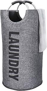 SPRICA Laundry Basket Hamper Bag with Handle, Large Collapsible Imitation Linen Laundry Hamper, Waterproof Cloth Bag Wash Bin, Grey