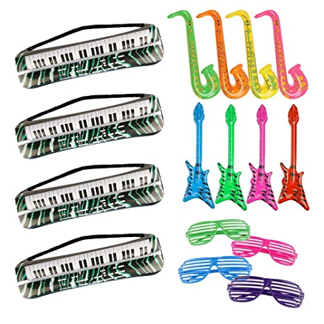 Father's Day 16 Pieces Inflatable Toy Set Inflatable Keyboards Toy Electric  Guitar Saxophone and Plastic Shutter Shades Glasses for 80's 90's Themed