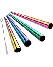 ALINK Extra Wide Reusable Rainbow Stainless Steel Boba Smoothie Straws, 12mm Jumbo Metal Bubble Tea/Milkshakes Straws, Pack of 4 with Cleaning Brush & Carrying Case