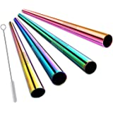 ALINK Stainless Steel Drinking Straws, Extra Wide Long Reusable Fat Boba Metal Smoothie Straws Jumbo, 12 mm X 9 in Set of 4 with Cleaning Brush & Straw Carrying Case(Rainbow Color)