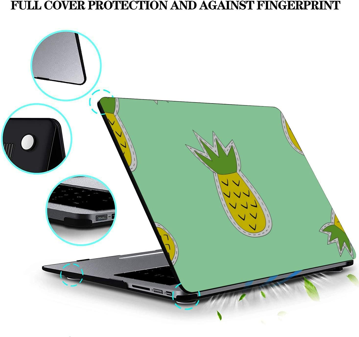 Computer Case Summer Fashion Sweet Fruit Pineapple Plastic Hard Shell Compatible Mac Air 11 Pro 13 15 Case MacBook Pro Protection for MacBook 2016-2019 Version
