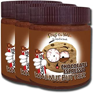 product image for Crazy Go Nuts Walnut Butter - Chocolate Espresso, 9 oz (3-Pack) - Healthy Snacks, Keto, Vegan, Low Carb, Gluten Free, Superfood - Natural, Non-GMO, ALA, Omega 3 Fatty Acids, Good Fats and Antioxidants