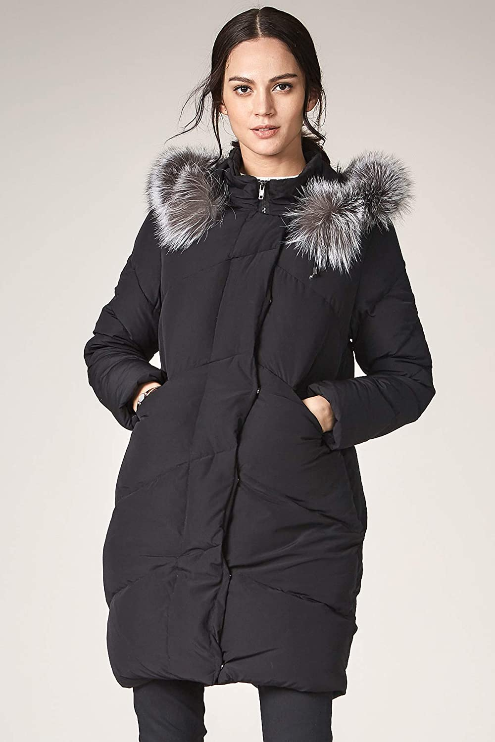 b3aecf7960c Amazon.com: Escalier Women's Down Jacket with Fox Fur Hooded Winter Parka  Coat: Clothing
