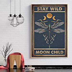 Moon Child Canvas Wall Art Dragonfly and Moon Canvas Poster Wall Art Vintage Yoga Meditation Canvas Art Print Moon Child Poster Witch & Moon Print for Living Room Decor Art Print Poster Unframed