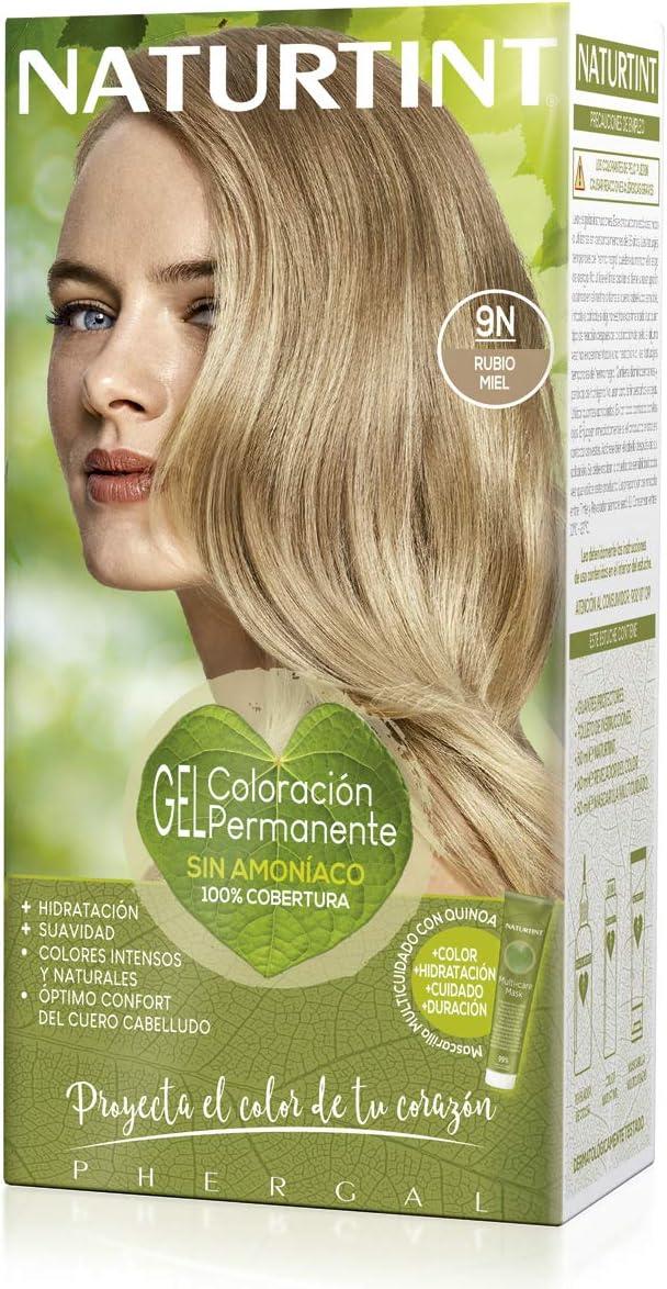 Naturtint | Coloración sin amoniaco | 100% cobertura de canas | Ingredientes vegetales | Color natural y duradero | 9N Rubio Miel | 170ml