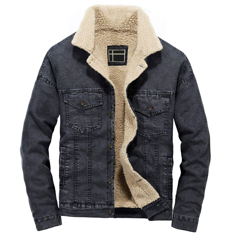 Autumn/Winter Denim Jacket Men Wool Coats Thick Velvet ...