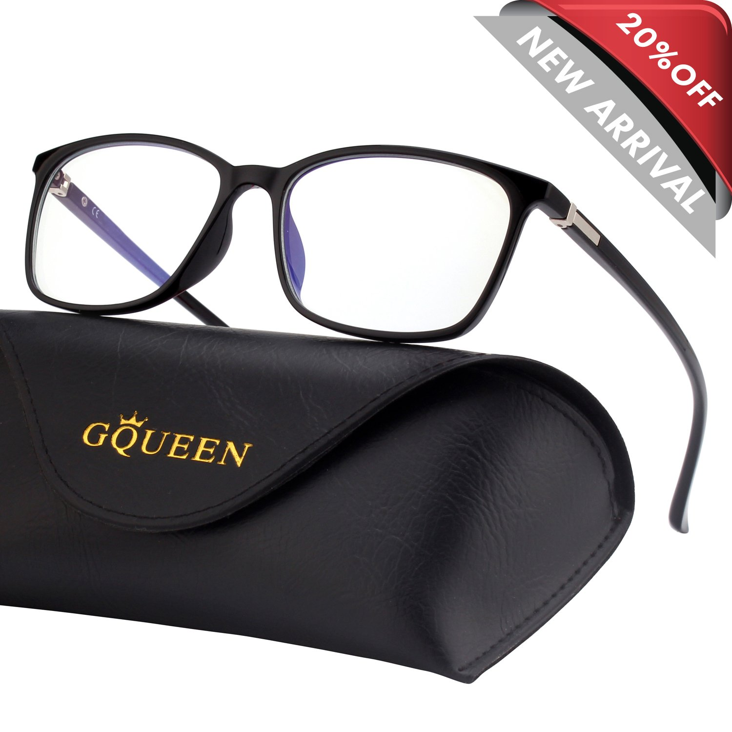 GQUEEN Blue Light Blocking Computer Glasses Gaming Better Sleep Anti Glare Eye Fatigue with TR90 Rectangle Frame Transparent Lens Unisex GQ318 by GQUEEN