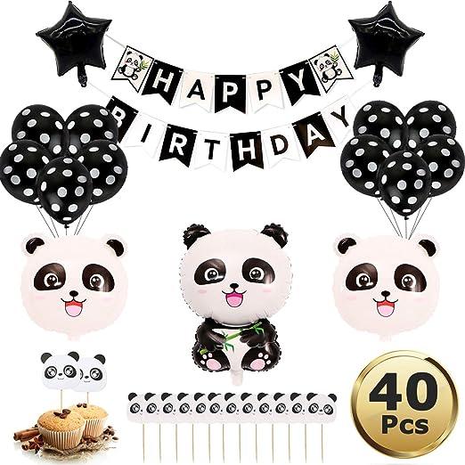 Decoraciones de la Fiesta Panda,Suministros de Decoración para Fiestas de Cumpleaños, Temática de Panda y Globos de Látex para Niños para la Fiesta de ...