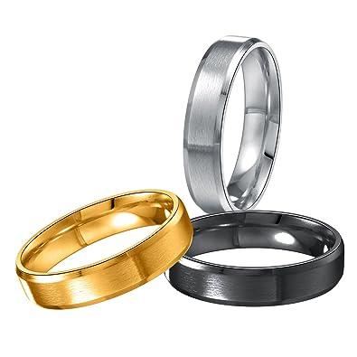 Areke 6mm Titanium Mens Wedding Band Rings,Women Matte Polished Engagement  Finger Ring Size 6